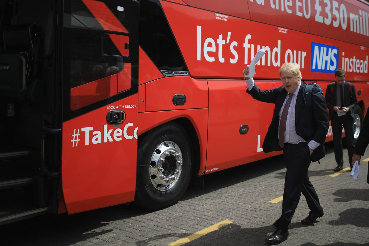Boris Johnson boards the Vote Leave Brexit Battle Bus on May 17, 2016, in Stafford, England. Johnson and the Vote Leave campaign toured the UK in their Brexit Battle Bus hoping to persuade voters to back leaving the European Union in the referendum that J