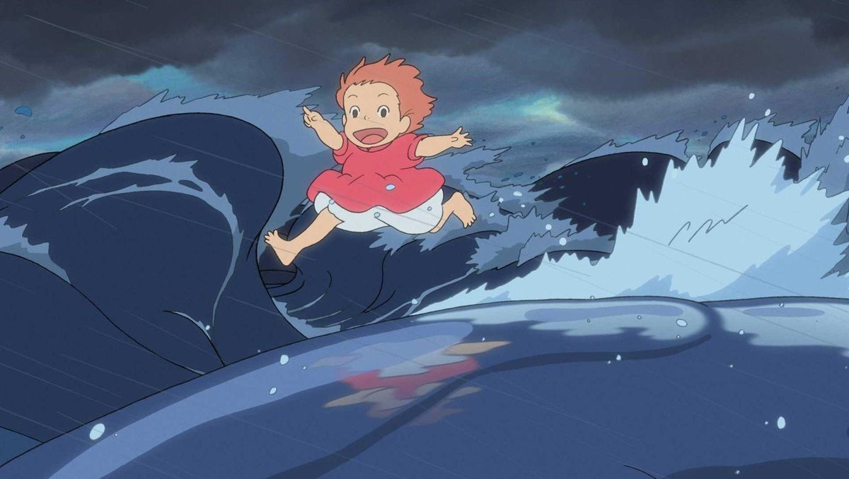 ponyo runs over waves formed by fish