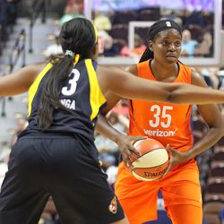 The Indiana Fever take on the Connecticut Sun in a WNBA game at Mohegan Sun Arena on May 26, 2018.
