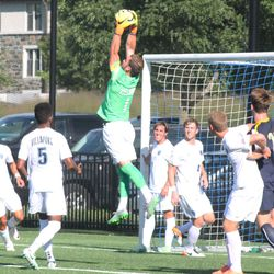 Will Steiner goes up high for a corner kick