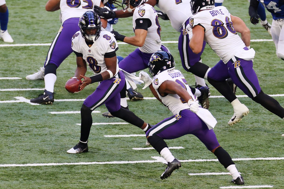 Lamar Jackson #8 hands off to J.K. Dobbins #27 of the Baltimore Ravens during the first quarter against the Indianapolis Colts at Lucas Oil Stadium on November 08, 2020 in Indianapolis, Indiana.