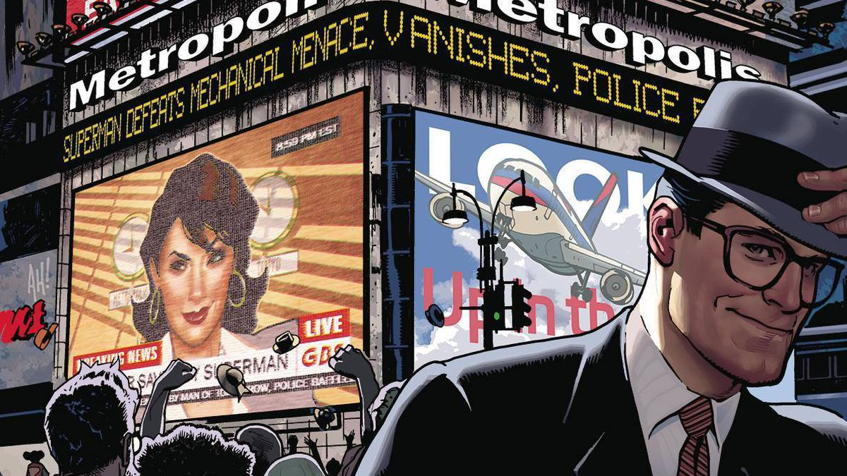 """A Metropolis billboard blares headlines and footage of Superman defeating an army of robots, Lois Lane reporting the news, and the headline """"SUPERMAN DEFEATS MECHANICAL MENACE, VANISHES"""" to a jubilant crowd. In the foreground, Clark Kent adjusts his hat as he walks away, smiling, in a variant cover for Superman #11, DC Comics (2019)."""