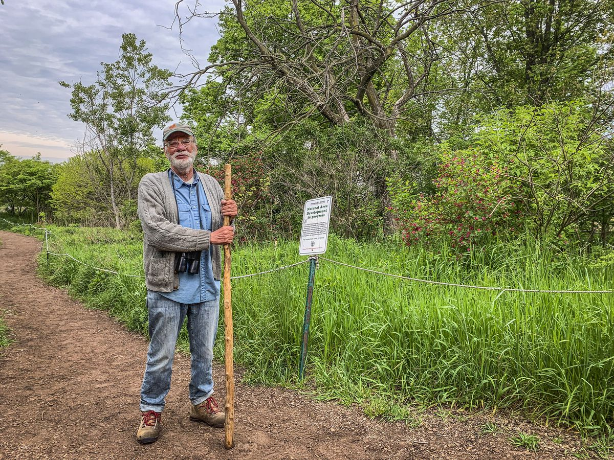 Avid birder Al Stokie, 76, at Montrose Point Bird Sanctuary Thursday, May 20.