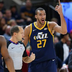 Utah Jazz center Rudy Gobert (27) argues a call with the referee as the Utah Jazz and the Portland Trailblazers play at Vivint Arena in Salt Lake City on Wednesday, Nov. 1, 2017. Utah won 112-103 in Overtime.
