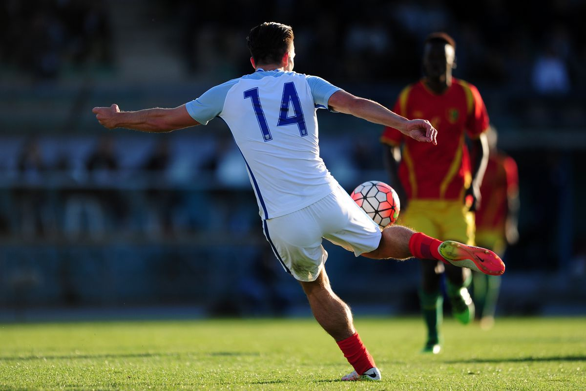 Jack Grealish scores for the England U-21s against Guinea on May 23 in Toulon, France.