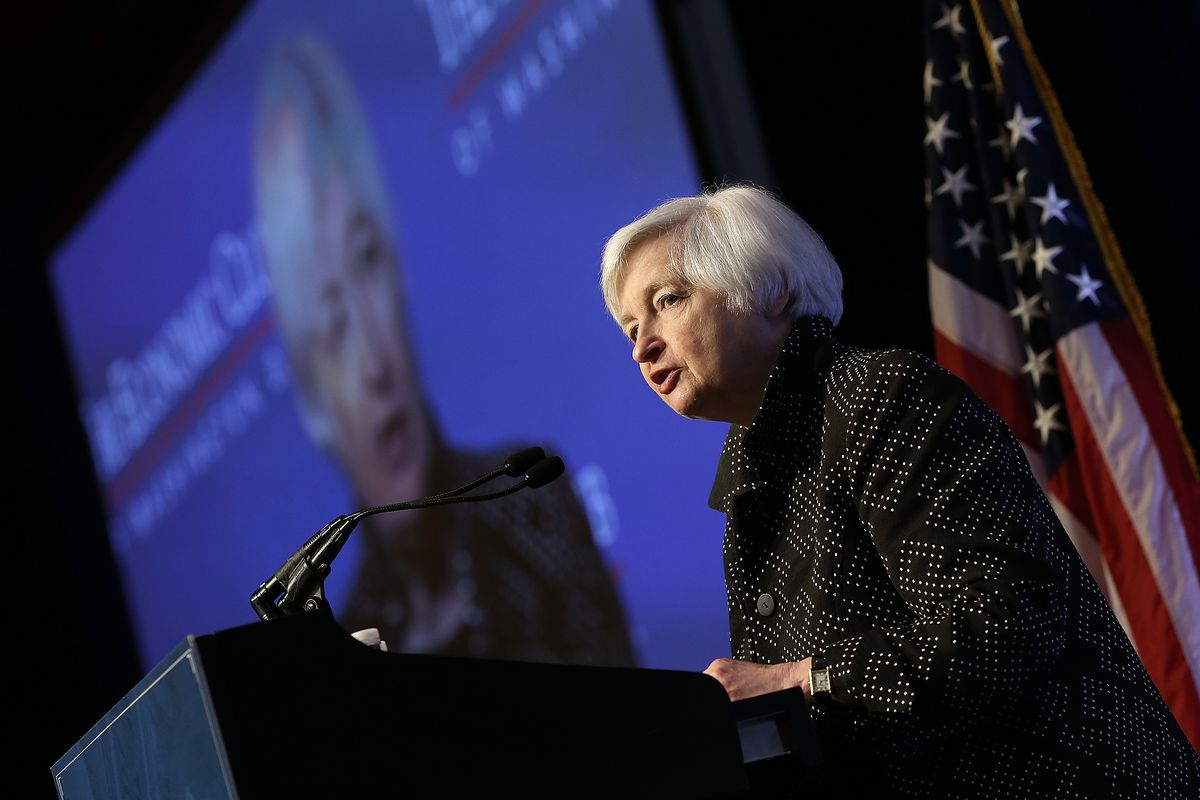US Federal Reserve Board Chair Janet Yellen delivers remarks December 2, 2015 in Washington, DC.