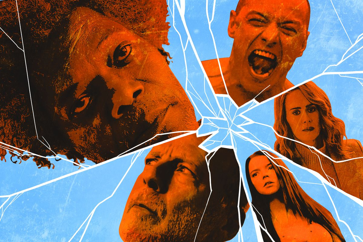 An illustration of five main characters from 'Glass' behind shattered glass