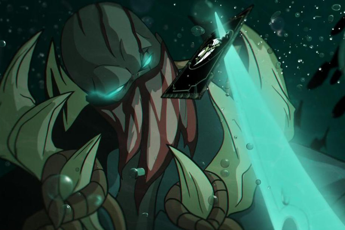 League of Legends - Fan art of Pyke, the Bloodharbor Ripper, examining an invite to the fan made Rift Gala