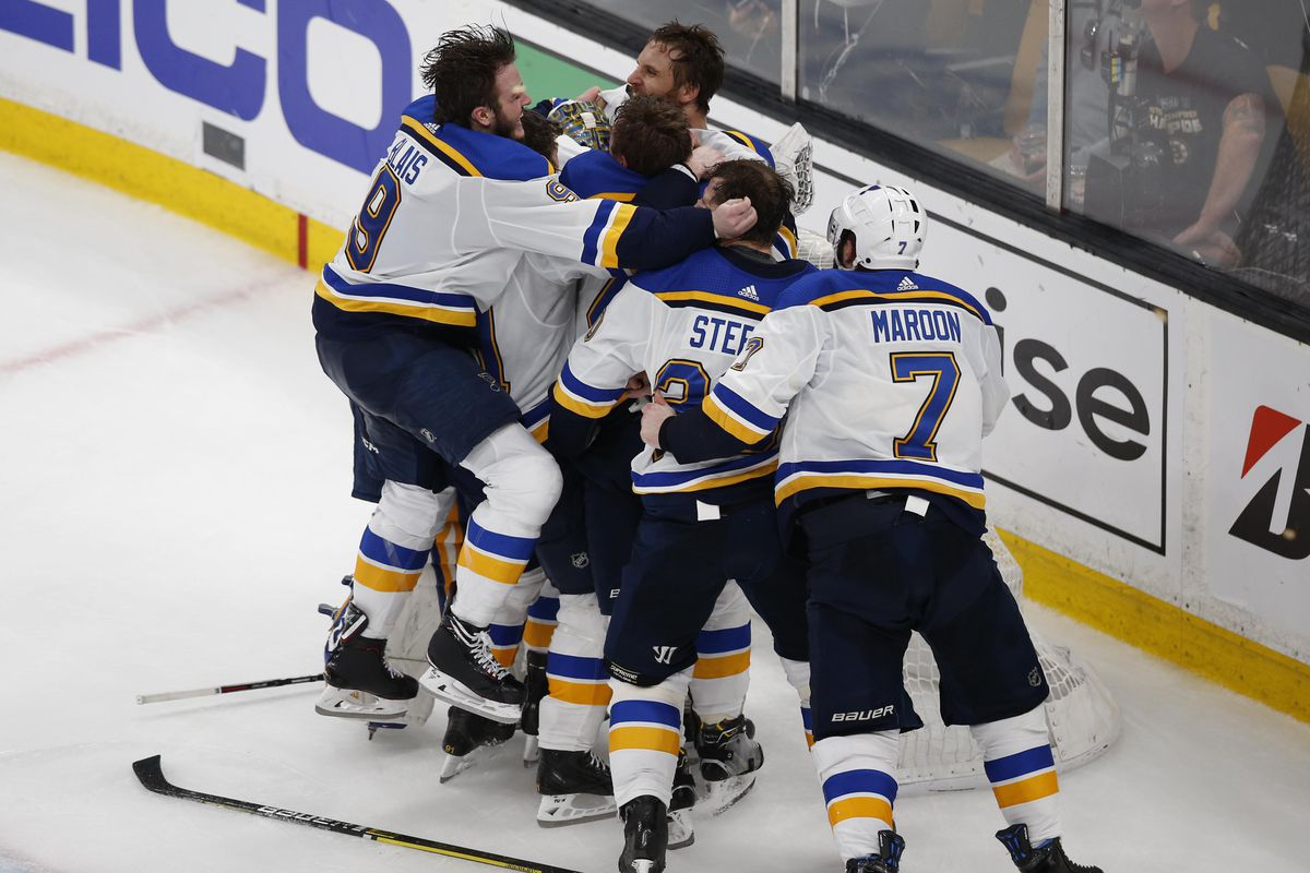 June 12, 2019; Boston, MA, USA; St. Louis Blues players celebrate after defeating the Boston Bruins in game seven of the 2019 Stanley Cup Final at TD Garden.