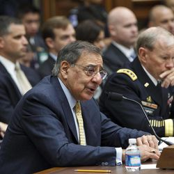 Defense Secretary Leon Panetta, left, accompanied by Joint Chiefs Chairman Gen. Martin Dempsey, testifies on Capitol Hill in Washington, Thursday, April, 19, 2012, before the House Armed Services Committee hearing on recent developments with the crisis in Syria.