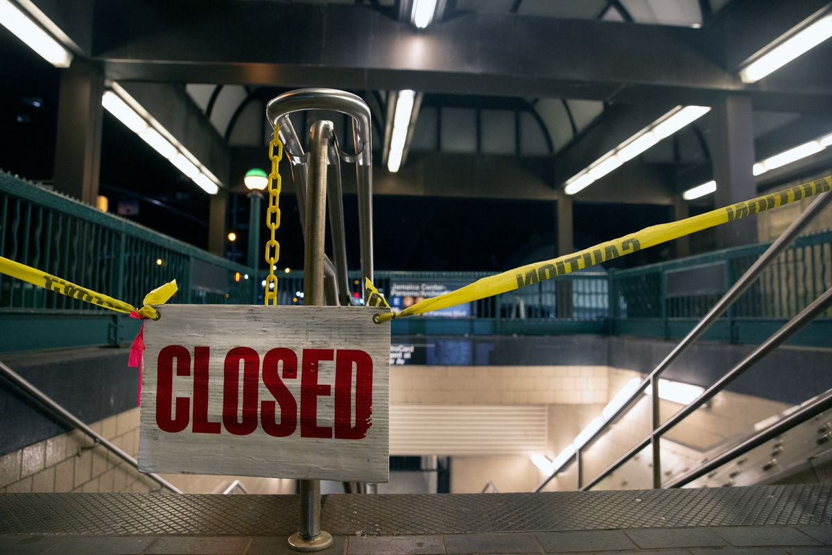 The Jamaica Center station in Queens is shuttered overnight, Aug. 27, 2020.