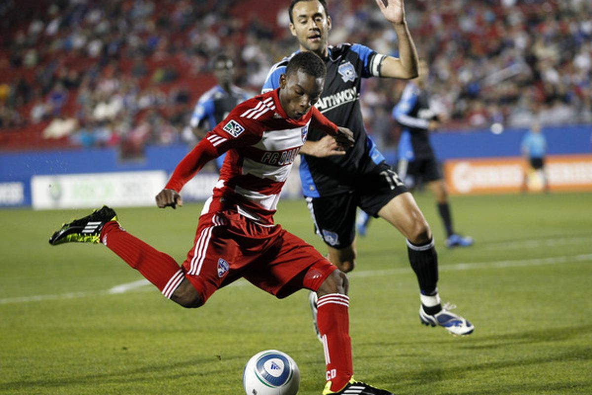 FRISCO, TX - MARCH 26: Fabian Castillo #15 of of FC Dallas dribbles past Ramiro Corrales #12 of the San Jose Earthquakes at Pizza Hut Park on March 26, 2011 in Frisco, Texas. (Photo by Layne Murdoch/Getty Images)