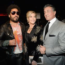 Lenny Kravitz, Jane Fonda, and Sylvester Stallone at Saint Laurent. Photo: Kevin Mazur/Getty Images