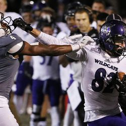 Southern Utah Thunderbirds cornerback Jarmaine Doubs pushes Weber State Wildcats wide receiver Ty MacPherson out of bounds during NCAA football in Cedar City on Saturday, Dec. 2, 2017.