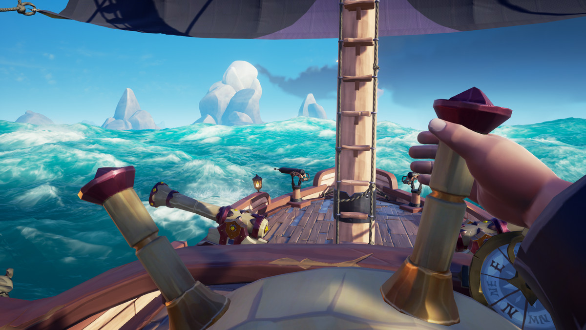 Sea of Thieves - a player using first person perspective pilots a sloop.