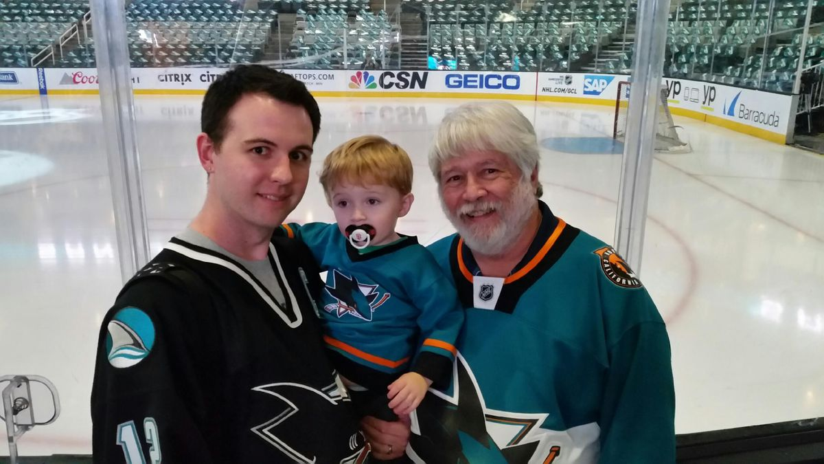 Author and family at a Sharks game