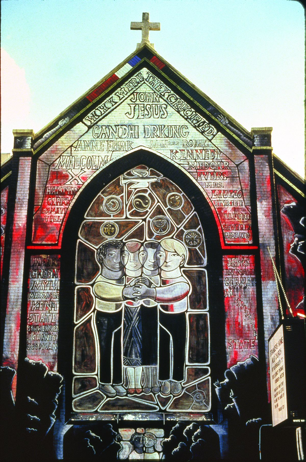 """""""All of Mankind: The Unity of the Human Race,"""" created from 1971 to 1973, an exterior view of the mural at the old Stranger's Home Missionary Baptist Church, 617 W. Evergreen Ave. The former San Marcello Mission in the Cabrini-Green public housing project"""