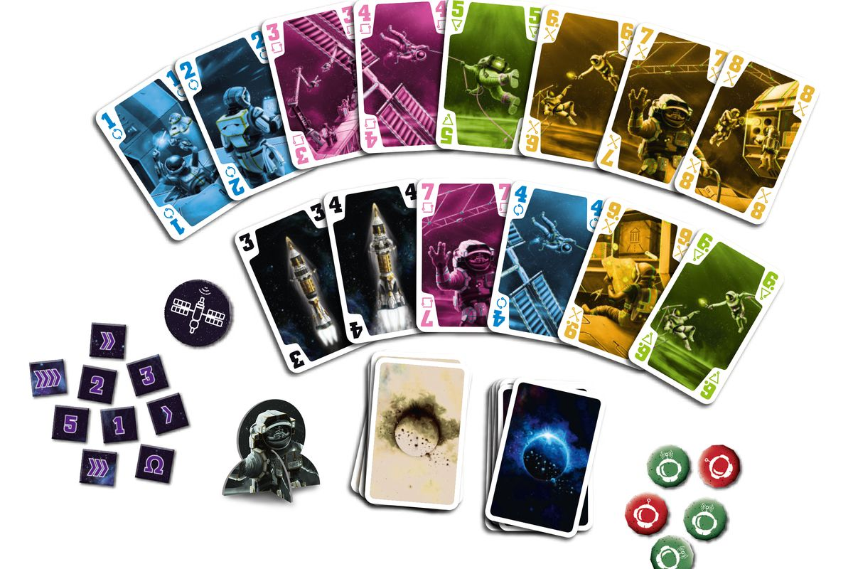 A selection of color coded cards featuring astronauts and spacecraft.