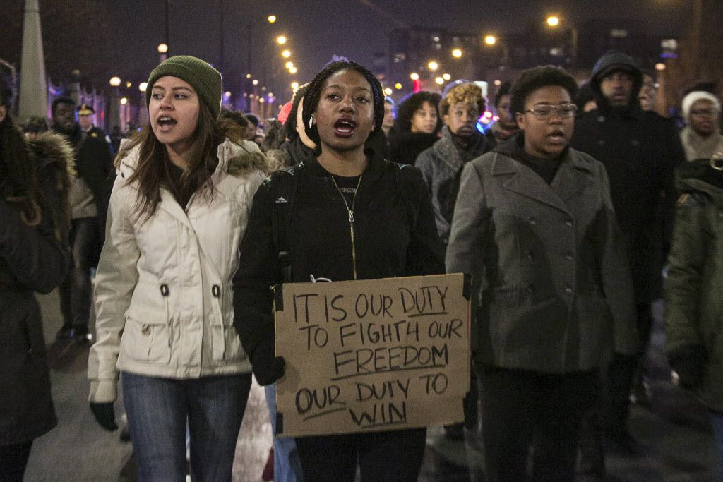 Protesters march down Roosevelt Road last Nov. 24 after the release of a police dashcam video showing the fatal shooting by a cop of 17-year-old Laquan McDonald.   Ashlee Rezin / Sun-Times