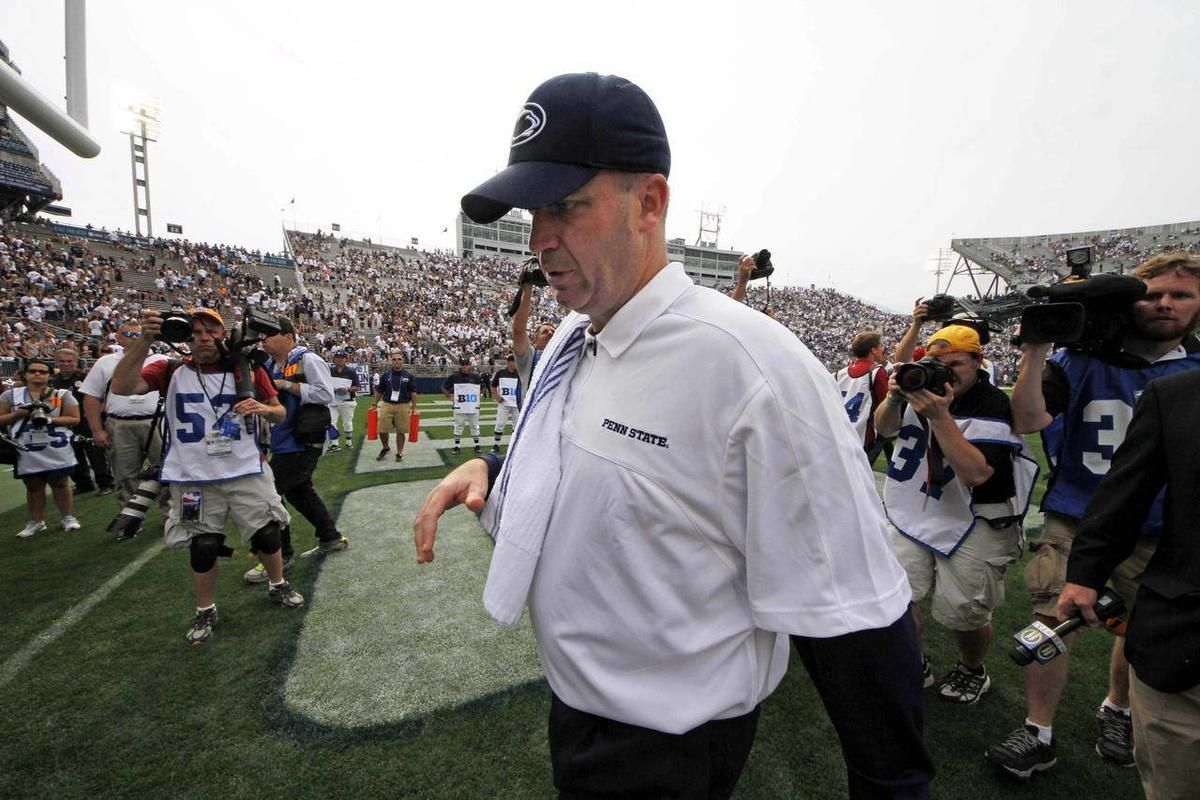 Penn State head coach Bill O'Brien walks off the field after an NCAA college football game against Ohio at Beaver Stadium in State College, Pa., Saturday, Sept. 1, 2012. Ohio won 24-14.