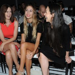 Emily Mortimer, from left, Harley Viera-Newton and China Chow are seen at the Jason Wu spring 2013 show, Friday, Sept. 7, 2012 in New York.