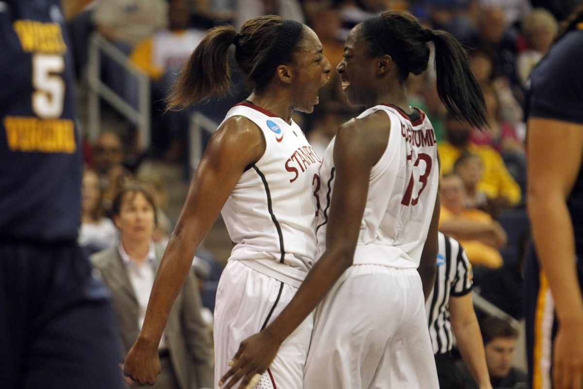 Nnemkadi (left) and Chiney Ogwumike were both selected to the 2012 AP All-American teams. Nneka was a unanimous selection for the Cardinal. (Credit: Peter Casey-US PRESSWIRE)