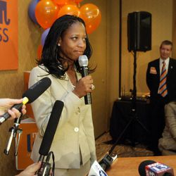 Republican 4th Congressional District candidate Mia Love concedes the race and talks with supporters at the Hilton in Salt Lake City early Wednesday, Nov. 7, 2012.