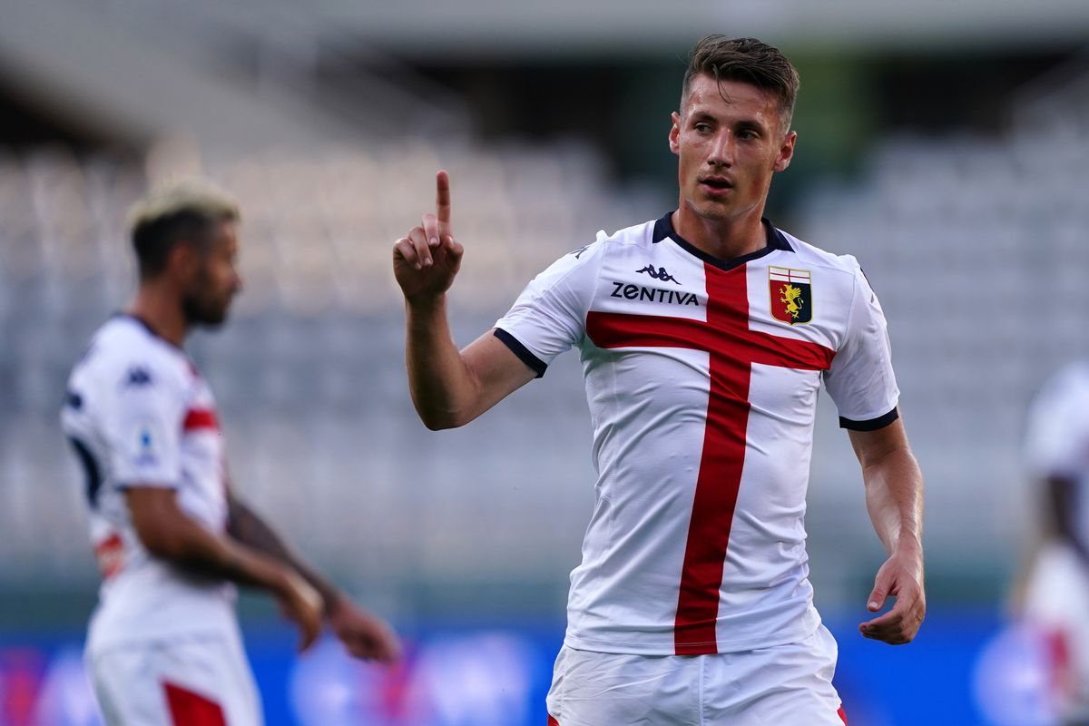 Andrea Pinamonti of Genoa Cfc gestures during the Serie A...
