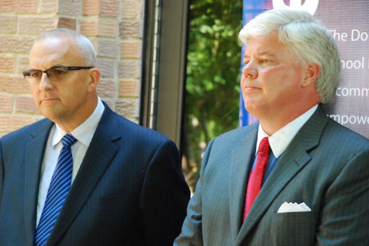 Douglas County school board president Kevin Larsen, left, and board member Craig Richardson. ( Photo by Nicholas Garcia )