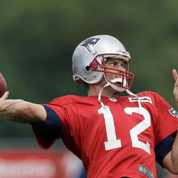 New England Patriots quarterback Tom Brady throws during practice at Gillette Stadium in Foxborough, Mass. Wednesday, Sept. 5, 2012. The Patriots are preparing for their NFL football season opener against the Tennessee Titans on Sunday.