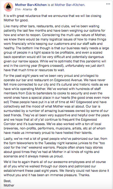 Screen capture of the closing announcement on Mother's Facebook page dated June 23, 2020