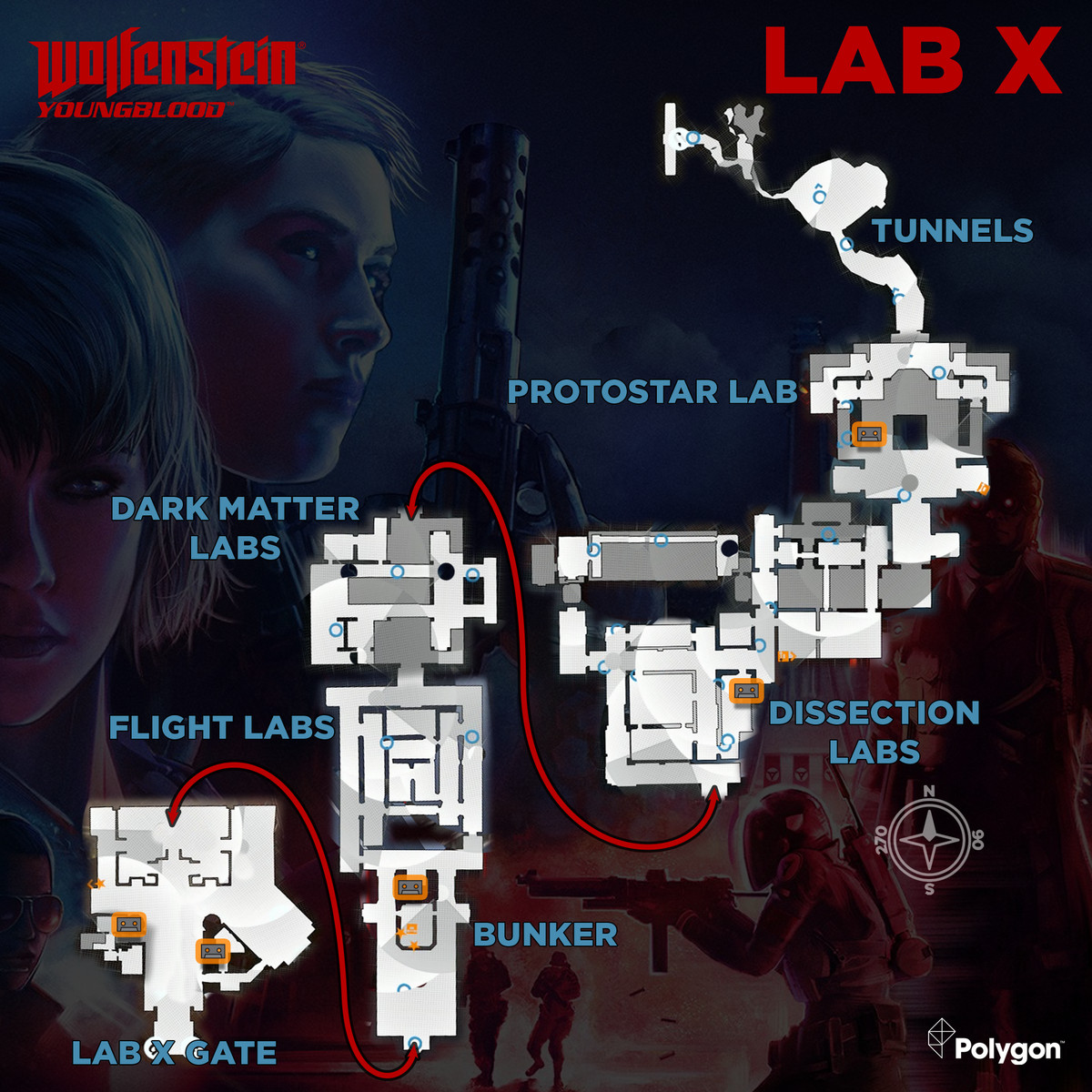 Wolfenstein: Youngblood Lab X map with Cassette Tapes locations