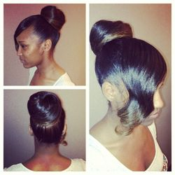 """""""I specialize in ethnic hair, and it's important to have a great anti humidity product,"""" says Sky. """"This keeps the hair smooth while adding lasting shine. I like to add a pomade around the edges to make the look more polished.   <br></br> [Image credit:"""