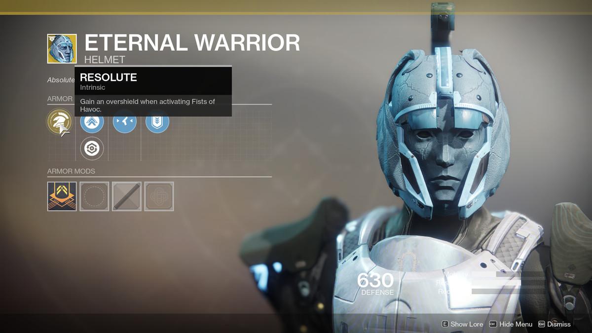 Eternal Warrior Exotic Destiny 2