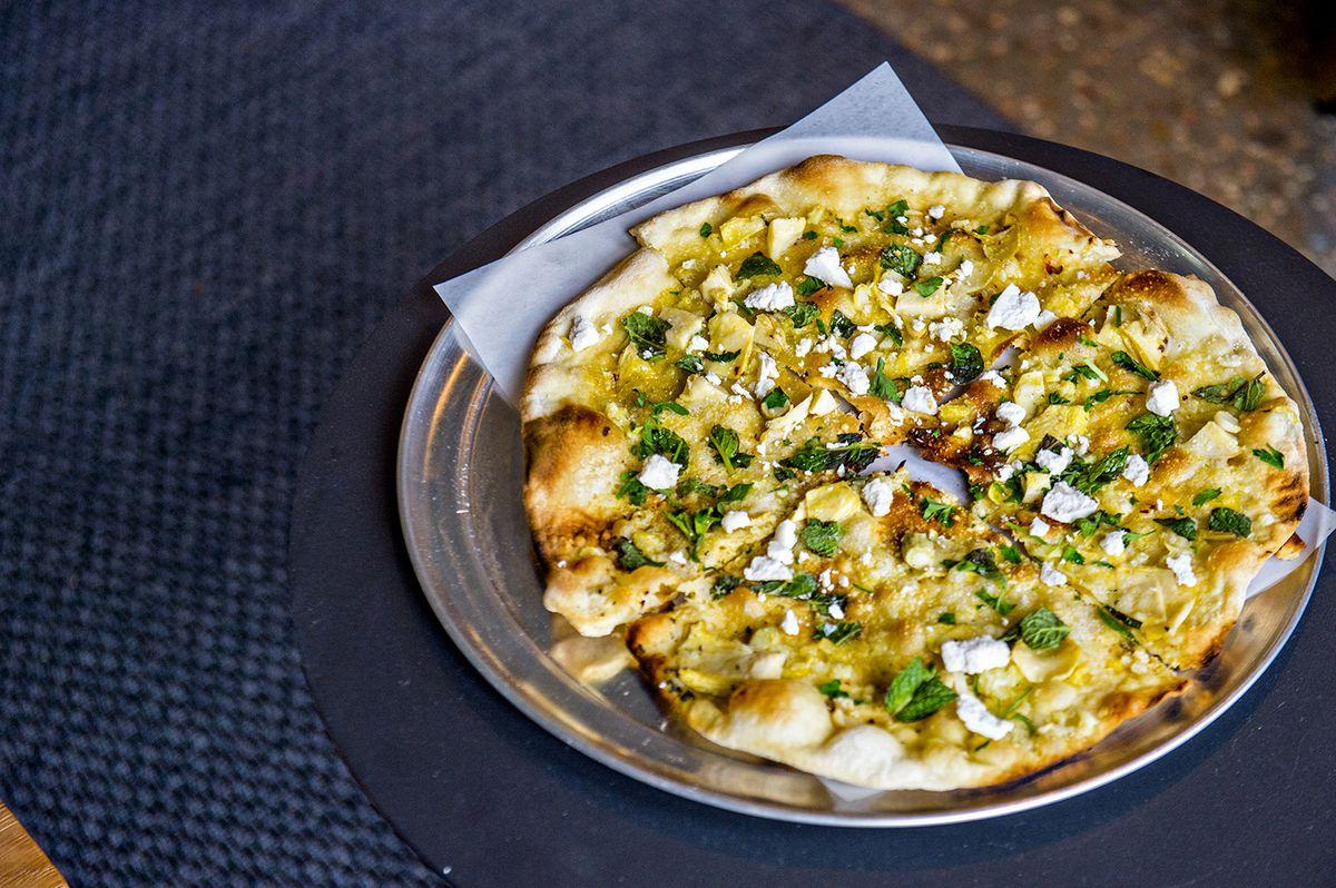 Pizzeria Coperta's Nona Betta with artichokes, mint, garlic, and olive oil