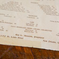 Antoine's anniversary menu, 1940: