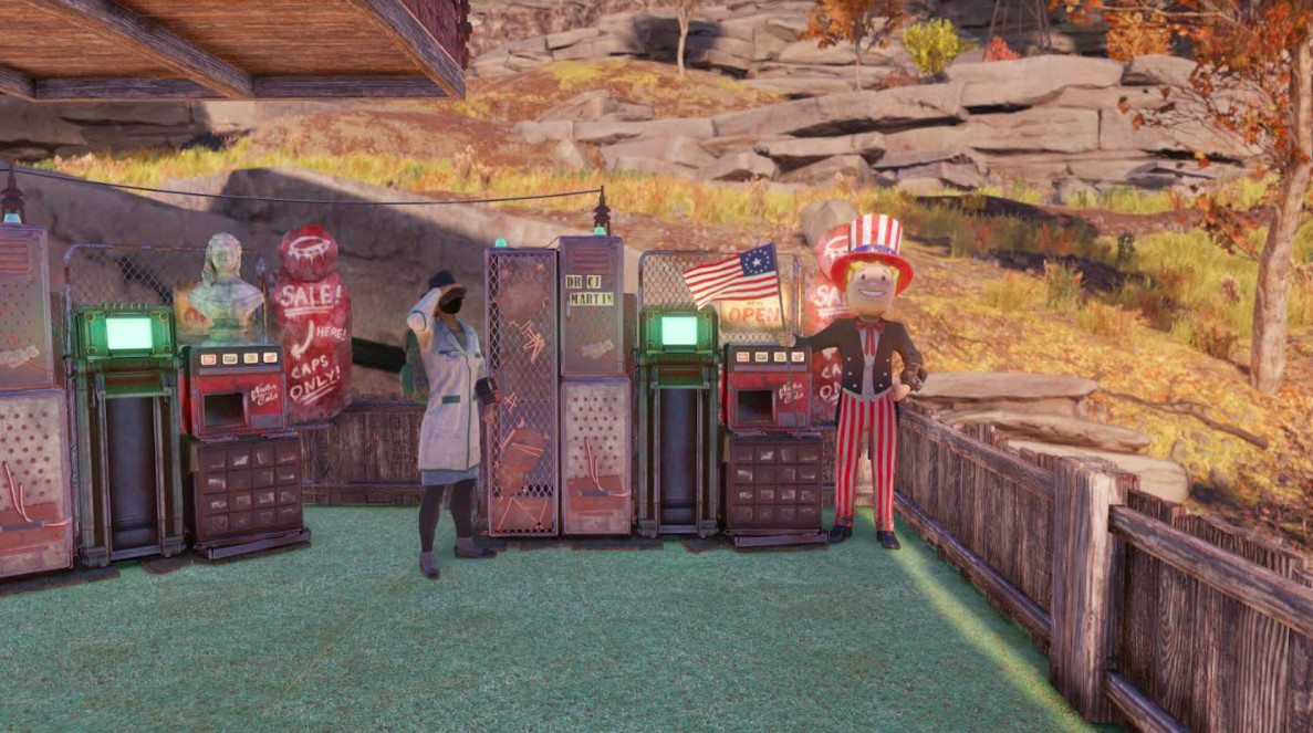 A doctor stands next to his vending machine in Fallout 76.
