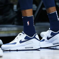 Utah Jazz forward Thabo Sefolosha's shoes as the Utah Jazz and the Portland Trail Blazers play at Vivint Arena in Salt Lake City on Wednesday, Nov. 1, 2017. Utah won 112-103 in overtime.
