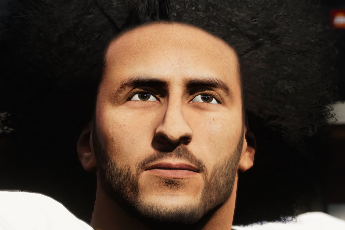 a close-up of Colin Kaepernick in Madden NFL 21