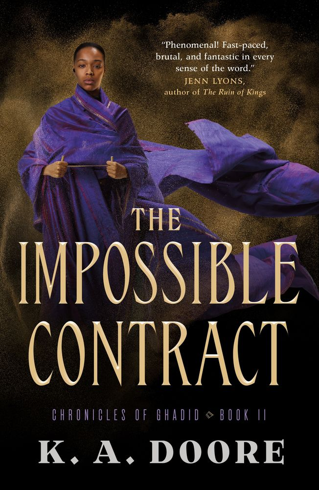 The IMpossible Contract cover with a beautiful black woman with a flowing purple robe