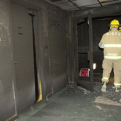 West V/alley fire crews enter an LDS Church at 3500 S. 6400 where an arson fire is being investigated.