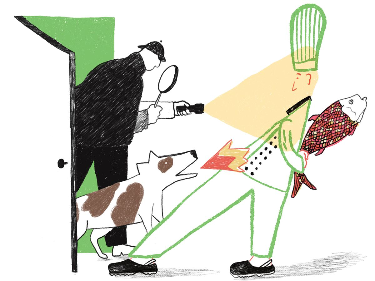 Illustration of an inspector catching a chef