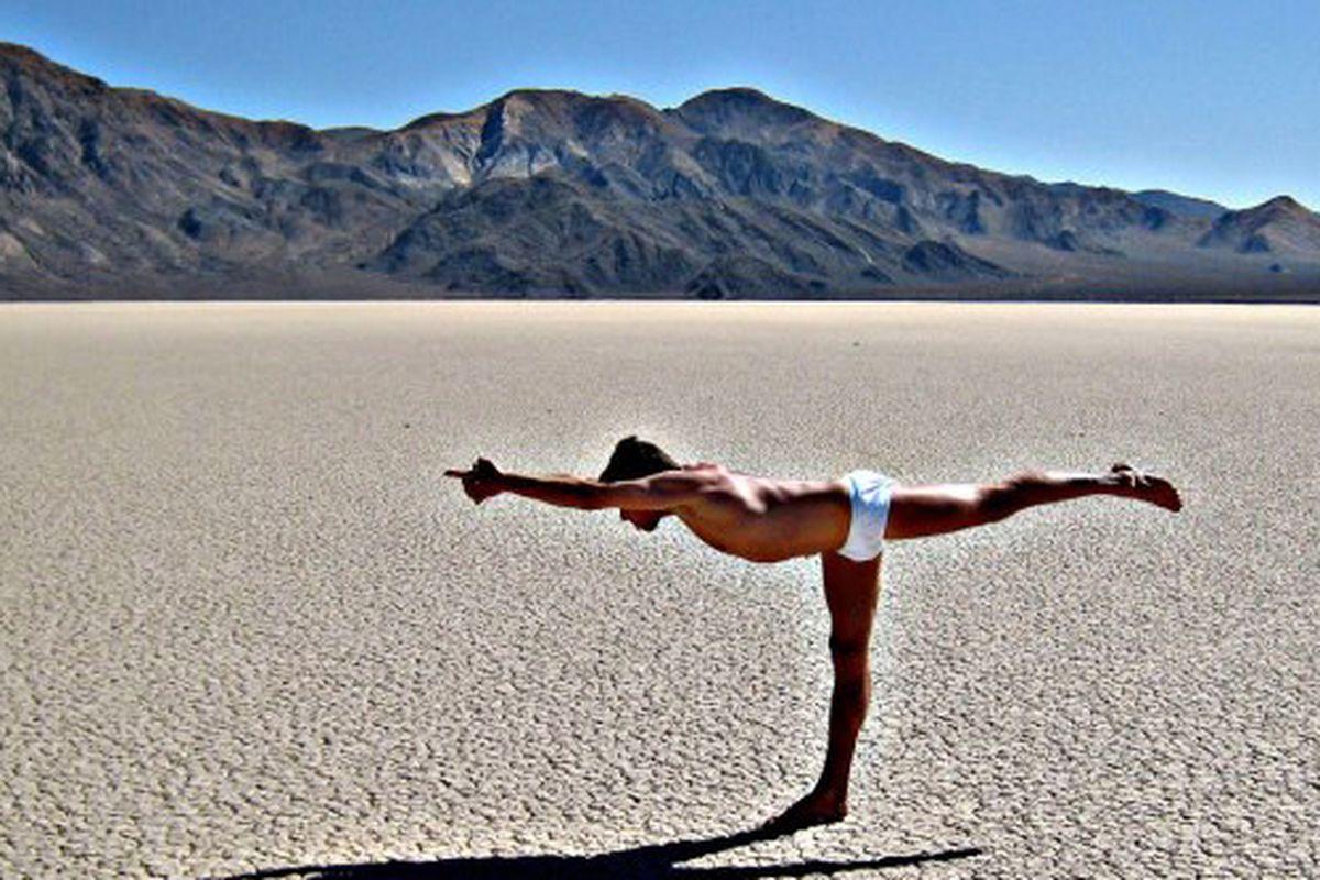 "Body Temp Yoga's instructor Rikk Czarnowski can't escape the heat; photo via Body Temp Yoga's <a href=""https://www.facebook.com/pages/Body-Temp-Yoga/100111136814197"">Facebook</a>"