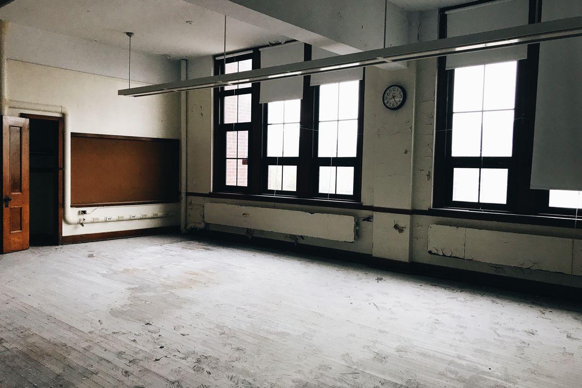 An empty room inside the former Anna M. Joyce Elementary School.