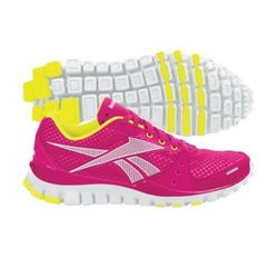 """<b>Reebok</b> <a href=""""http://www.dickssportinggoods.com/product/index.jsp?productId=12685435&ab=TopNav_Footwear_WomensFootwear_CrossTraining&ppp=71&cp=4413987.4417990"""">RealFlex Transition Training Shoe</a> in Pink/White/Yellow, $49.99 (on sale from $99.9"""