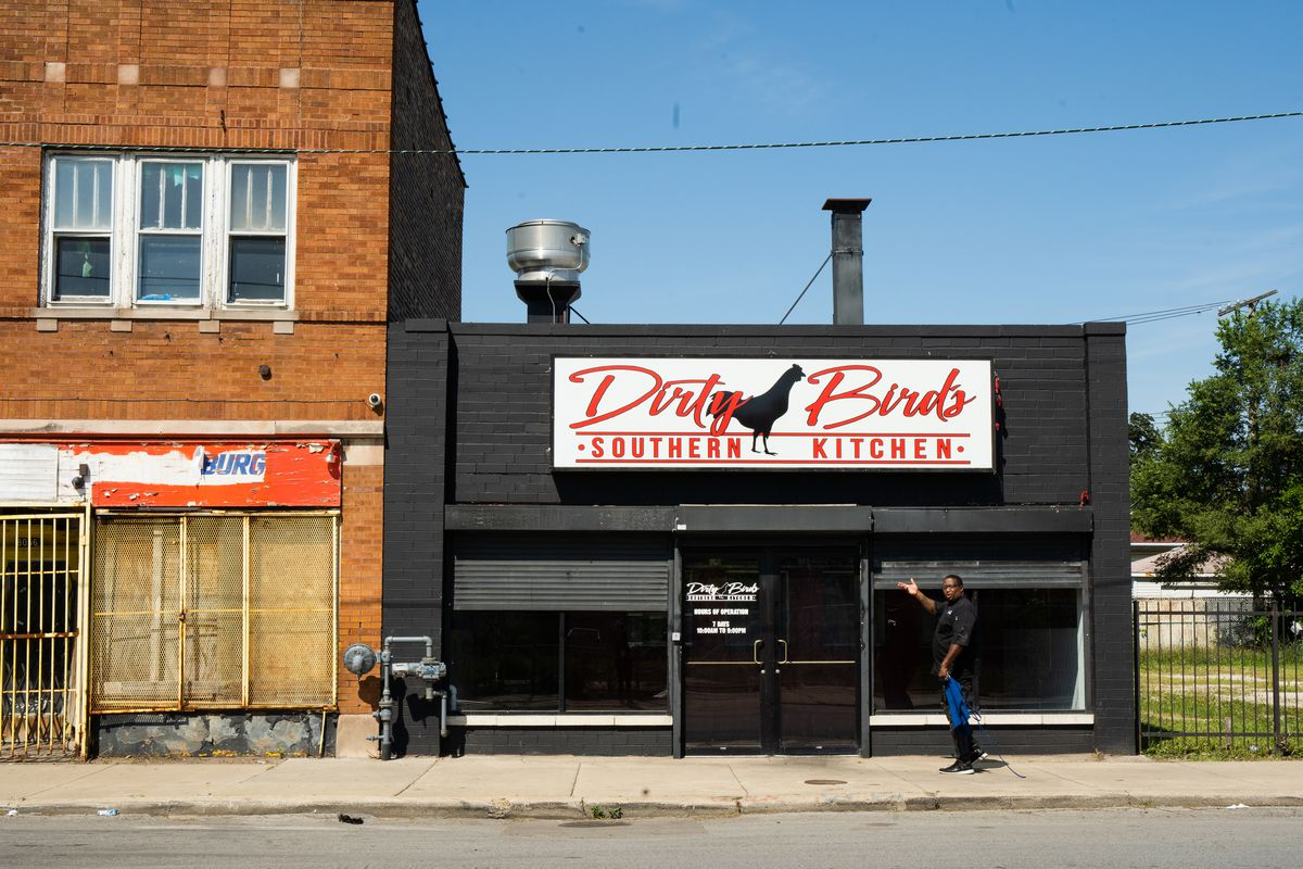 The exterior of Dirty Birds Southern Kitchen in Gresham is seen in this photo Wednesday morning July 29, 2020. James Sanders, the founder of Dirty Birds Southern Kitchen, distributes about 900 meals per day to those in need in rehabilitations centers across Chicago.   Pat Nabong/Sun-Times
