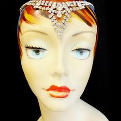 1960s rhinestone necklace (used as a hair piece), $42