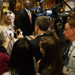 Kellyanne Conway, campaign manager for President-elect Donald Trump, talks with reporters as she arrives at Trump Tower, on Nov. 14, 2016, in New York.