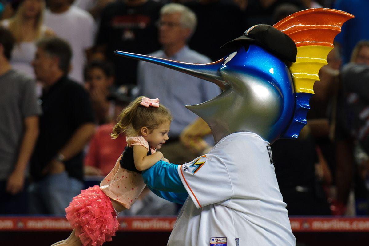 The Miami Marlins Mascot is kinda creepy