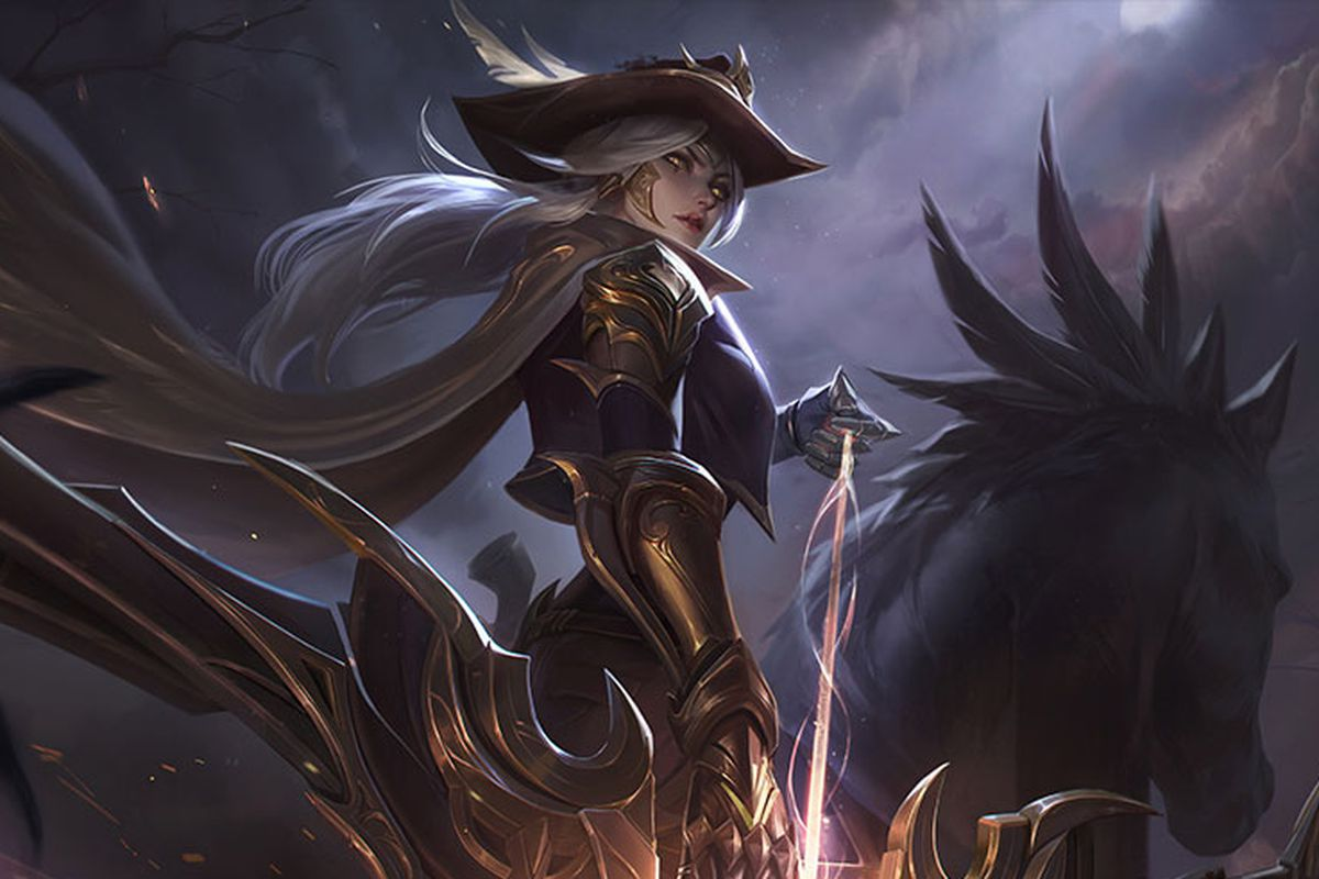 High Noon Ashe gets ready to fire a glowing arrow while sitting on a horse